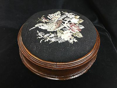 Round Victorian Mahogany Foot Stool With  Needle Point & Bun Feet