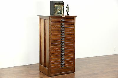 Hamilton Signed Antique Printer File, Jewelry or Collector Cabinet, 19 Drawers