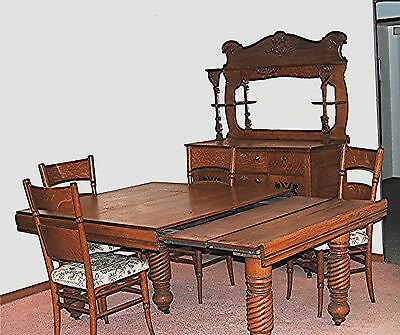 ANTIQUE 19th CENTURY OAK DINING ROOM SUITE (SET) EXTENSION TABLE BUFFET 4 CHAIRS