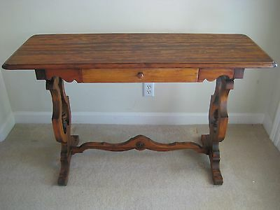 Antique Library Table 100+ Years - Solid Walnut Wood with Turned Legs Excellent