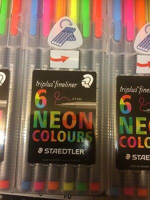Staedtler Triplus Fineliner Neon Colour Marker Pen Pack Of 6  clearance £2.99