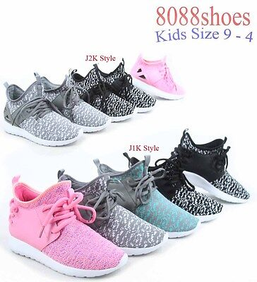 Youth Girl's Kid's Lace Slip On Flat Sneakers Casual Sport Shoes Size 9 - 4 NEW