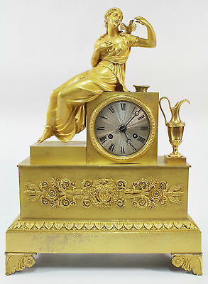 Antique French Charles X Gilt Bronze Ormolu Table Clock c. 1830