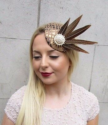 Brown Gold White Pheasant Feather Pillbox Hat Fascinator Hair Clip Races 2610
