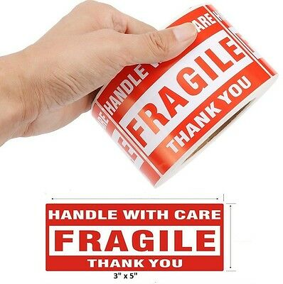 "1000 3""x5"" Fragile Handle with Care Thank You Mailing Labels Self Adhesive"
