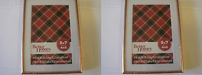 """2 NEW Better Homes & Gardens 5x7"""" Matted to 4x6"""" Copper Picture Frame with Stand"""