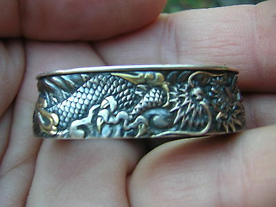 Rare Signed Antique Japanese Shakudo Sterling Silver Dragon Sword Guard Kashira