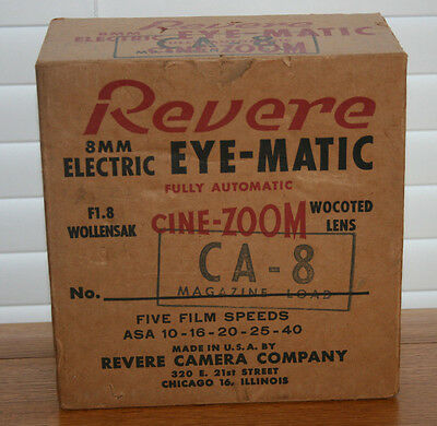 Revere CA-8 Electric Eye-Matic CINE-ZOOM 8mm Movie Camera Org Box & Org Shipping