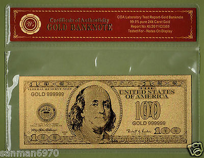 United States $100 Dollar Bill Gold Banknote 24 Kt Gold.999 COMES WITH COA