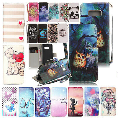 For Samsung S7 S8 Plus Flip Leather Case Card Slots Wallet Magnetic Stand Cover