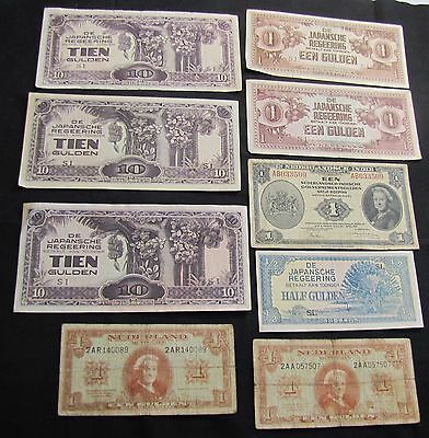 Lot of 9 WWII Era Netherlands Notes - 1943 1 Gulden, 2x 1945 1; Japanese
