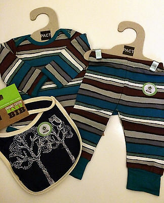 Organic Cotton Infant BOY Onesie Set Of 3 By PACT Size 3-6M *NEW*