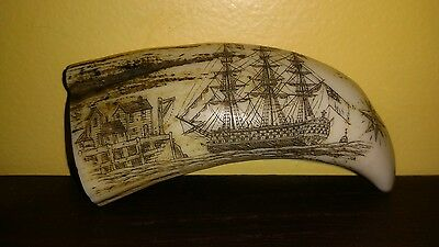 Faux Scrimshaw Carved Sperm Whale's Tooth. Ship, Angels, Victory, nautical decor