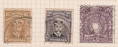 (Q22-19) 1890 East Africa 3R brown & 2 South African company stamp