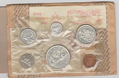 1962 CANADA PROOF LIKE SET WITH 80% SILVER COINS coins spotty RCM envelope