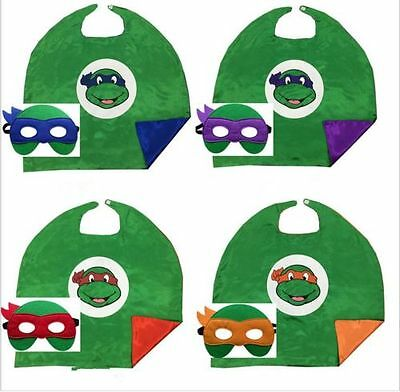 NEW Teenage Mutant Ninja Turtles Cape Mask Set Costume Kids cospiay Party Gifts