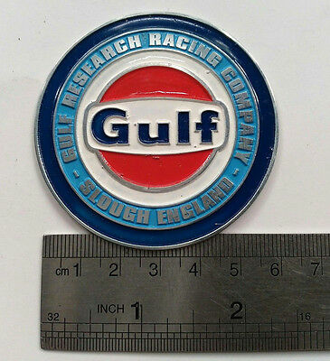 VINTAGE GULF RACING BADGE OIL SIGN GAS PUMP RACING RETRO can RESEARCH ENGLAND