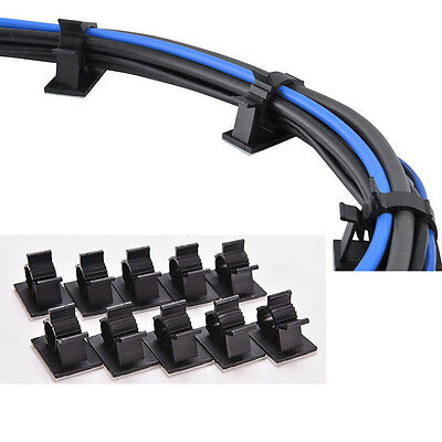 10X NEW Cable Clips Adhesive Cord Management Black Wire Holder Organizer Clamp