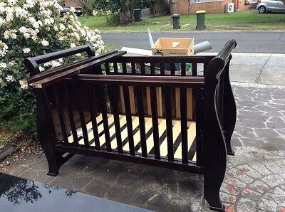 Boori Sleigh Cot/Toddler Bed with Mattress & Change Table.