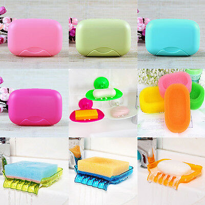 Mesh Sponge Soap Dish Box Shower Hotel Holders Bathroom Kitchen keep clean