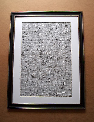 "Framed Artwork Print ""segment"" Large Pen & Ink Abstract Art Illustration, No. 1"