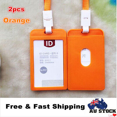 2x Plastic Business ID Badge Card Vertical Holder with Neck Strap Lanyard Orange