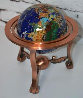 "Blue Lapis Gem Stone World Globe on Copper Stand 10"" H - FREE P&P [PL3368]"