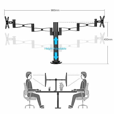 "Up to 27"" Inch Dual LCD Monitor Swivel Arm Tilt VESA Mount Bracket Desk Clamp"