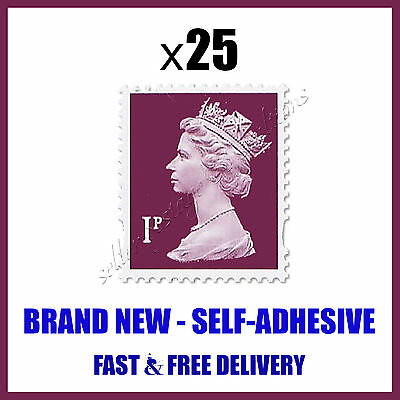 BRAND NEW 25x1p UK POSTAGE STAMPS SAVE Posted Via First Class Delivery Purple