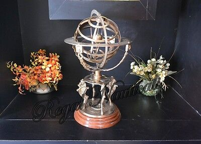 """Antique Large Engraved Brass Armillary 18"""" Nautical Sphere Globes World"""