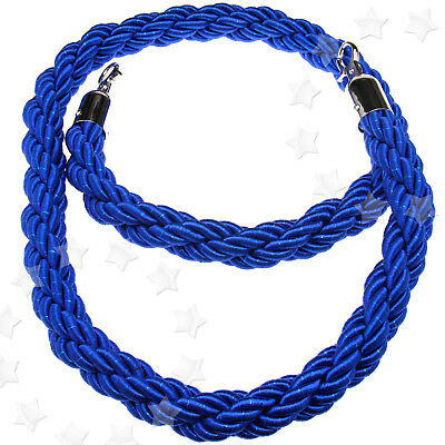 1.5M Blue Queue Barrier Twisted Rope Divider Crowd Control Stanchion