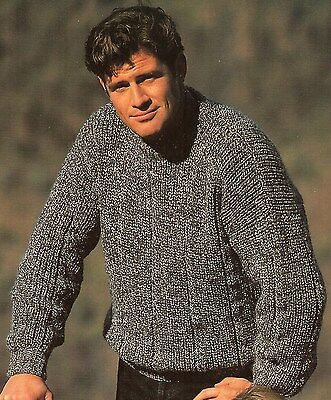 """Knitting Pattern for Lady/Man's Rib Sweater Crew/Polo Neck DK 28-46"""" 9151"""