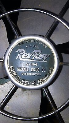 "1950's Rex-Ray Tabletop Rexall X-496 Electric Art Deco 9"" Portable Fan Vintage"