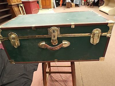 Vintage CONCOURSE Steamer Trunk/Storage Chest - Dark Green with Brass Accents