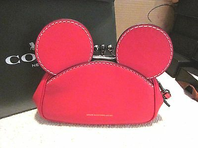 Disney X Coach Mickey Kisslock Wristlet Red Smooth Leather NWT Sold Out Rare