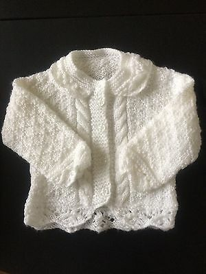 Hand Knitted Baby Girl Cardigan Coat White Wool Patterned  Buttons 0-3 mnths