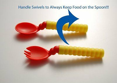 Less Mess Baby Super Spoon & Spork Set with Self Leveling, Rotating Handle