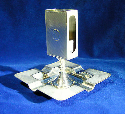 Unusual vintage h/m Solid Silver ashtray with Monogrammed Matchbox holder