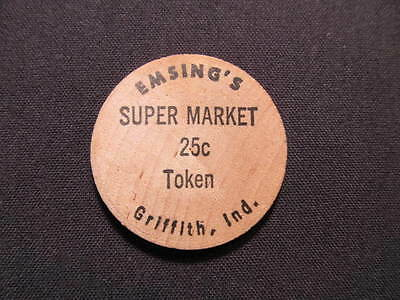 Griffith, Indiana Wooden Nickel token - Emsing's Super Market Token Wooden Coin