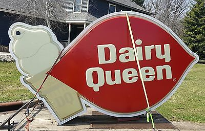 Vintage Dairy Queen Lighted Sign. Sign is 6ft tall, 10ft long, and 2ft wide.