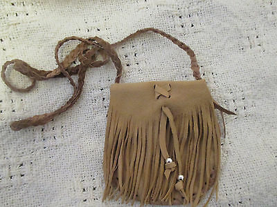 Handmade Light Brown Leather Neck Pouch Bag Purse Fringed Flap