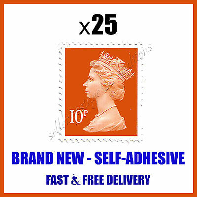 BRAND NEW 25x10p UK POSTAGE STAMPS SAVE Posted Via First Class Delivery Orange