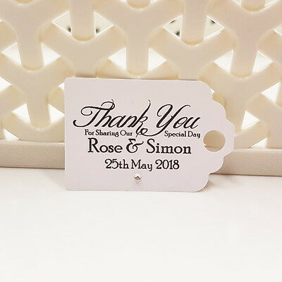 Personalised Wedding Favour Thank You Tags Diamante Gem - Ivory Cream, White