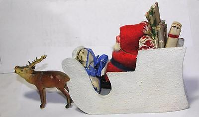 1920S Vtg German Composition Xmas Candy Container, Santa N Sleigh W Reindeer