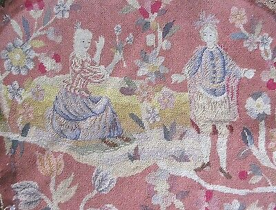 Antique Petit Point Needlepoint Chair Back Cover Man,Lady,Turtle,Floral Aubusson