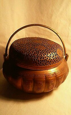 Old Rare Antique Chinese Bronze / Copper Hand Warmer 19th Century Excellent