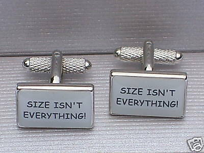 """SENTIMENTAL METAL OBLONG CUFF LINKS-""""SIZE ISN'T EVERYTHING!""""-in a GIFT BOX-NEW"""