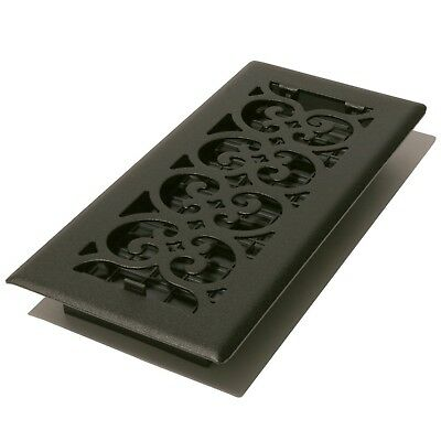 Decor Grates ST410 Scroll Floor Register Textured Black 4-Inch by 10-Inch