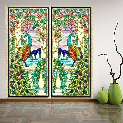 Retro Colorful Peacock Privacy Stained Glass Window Film Static Cling Film Decor