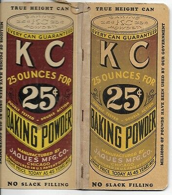 KC Baking Powder Advertising Notebook Jaques Mfg Co Chicago Vintage Collectable